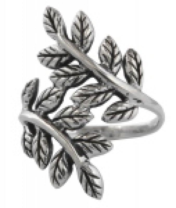Silberring Blätter der Yggdrasil
