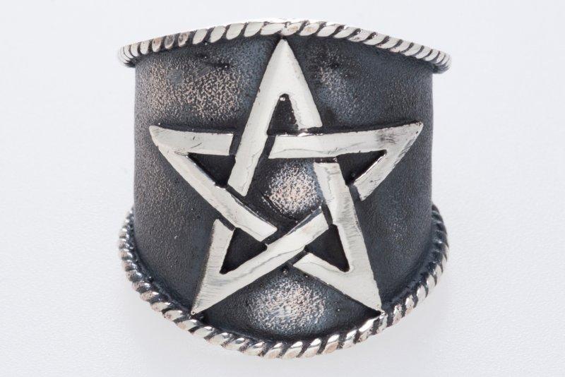 Silberring großes Pentagramm